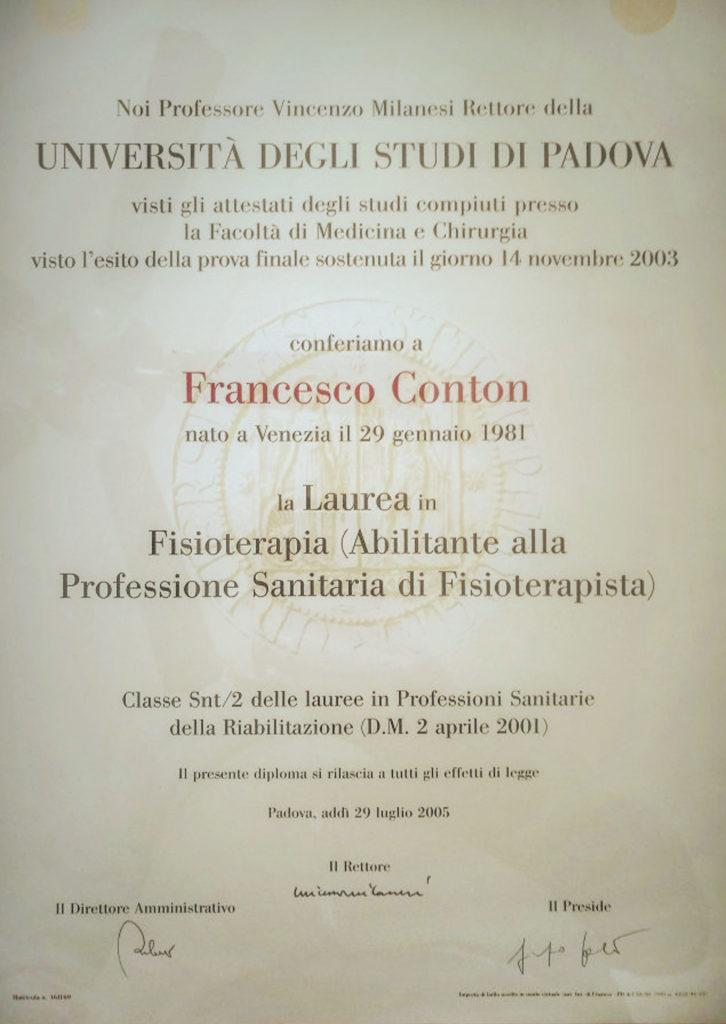 Laurea in Fisioterapia Francesco Conton