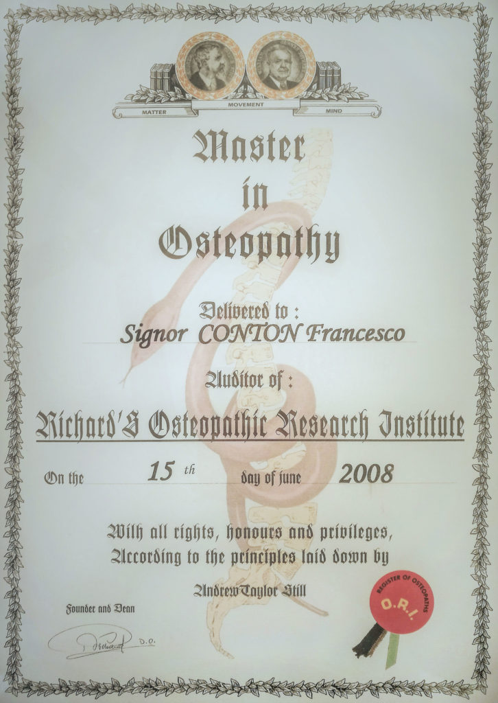 Master in Osteopatia Francesco Conton